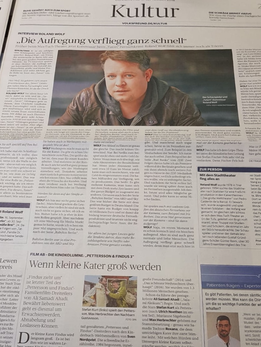 TV Kultur Interview mit Schauspieler Roland Wolf